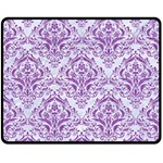 DAMASK1 WHITE MARBLE & PURPLE DENIM (R) Double Sided Fleece Blanket (Medium)  58.8 x47.4 Blanket Front