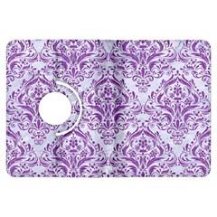 Damask1 White Marble & Purple Denim (r) Kindle Fire Hdx Flip 360 Case