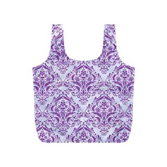 Damask1 White Marble & Purple Denim (r) Full Print Recycle Bags (s)