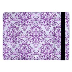 Damask1 White Marble & Purple Denim (r) Samsung Galaxy Tab Pro 12 2  Flip Case