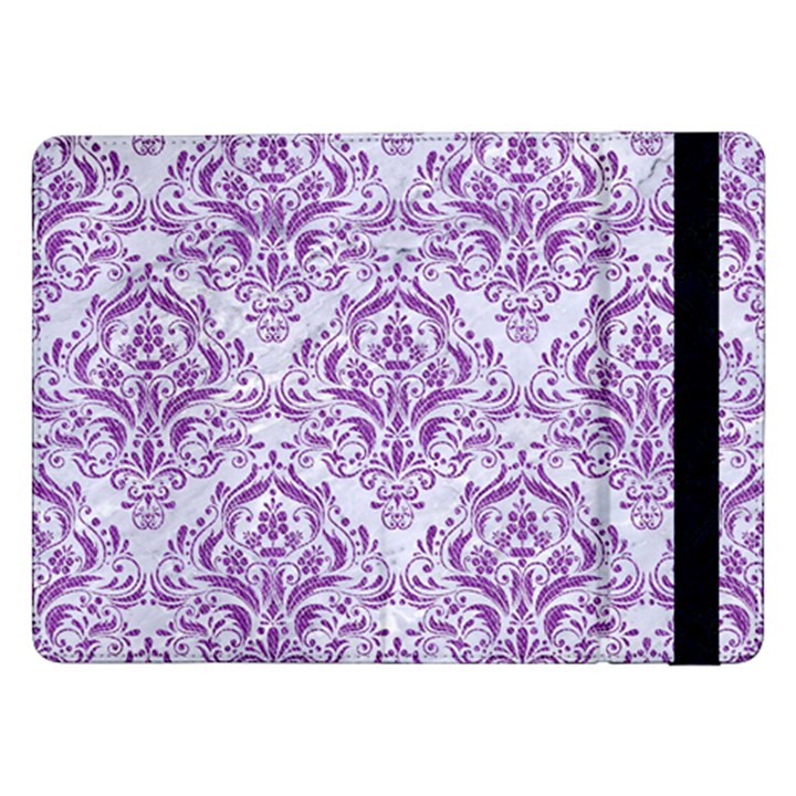DAMASK1 WHITE MARBLE & PURPLE DENIM (R) Samsung Galaxy Tab Pro 12.2  Flip Case