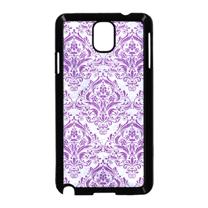 DAMASK1 WHITE MARBLE & PURPLE DENIM (R) Samsung Galaxy Note 3 Neo Hardshell Case (Black)