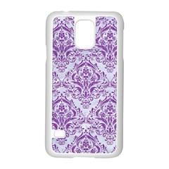 Damask1 White Marble & Purple Denim (r) Samsung Galaxy S5 Case (white)