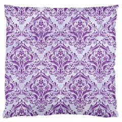 Damask1 White Marble & Purple Denim (r) Large Flano Cushion Case (one Side)