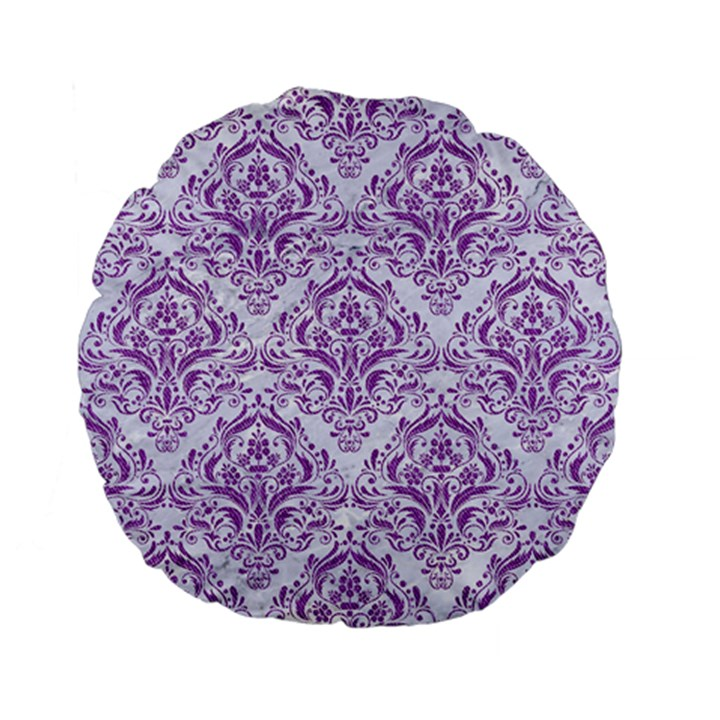DAMASK1 WHITE MARBLE & PURPLE DENIM (R) Standard 15  Premium Flano Round Cushions