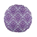 DAMASK1 WHITE MARBLE & PURPLE DENIM (R) Standard 15  Premium Flano Round Cushions Back