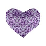 DAMASK1 WHITE MARBLE & PURPLE DENIM (R) Standard 16  Premium Flano Heart Shape Cushions Front