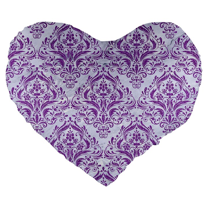 DAMASK1 WHITE MARBLE & PURPLE DENIM (R) Large 19  Premium Flano Heart Shape Cushions