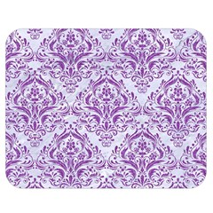 Damask1 White Marble & Purple Denim (r) Double Sided Flano Blanket (medium)