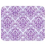DAMASK1 WHITE MARBLE & PURPLE DENIM (R) Double Sided Flano Blanket (Medium)  60 x50 Blanket Back