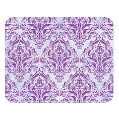 Damask1 White Marble & Purple Denim (r) Double Sided Flano Blanket (large)