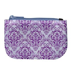 Damask1 White Marble & Purple Denim (r) Large Coin Purse