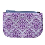 DAMASK1 WHITE MARBLE & PURPLE DENIM (R) Large Coin Purse Front