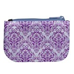 DAMASK1 WHITE MARBLE & PURPLE DENIM (R) Large Coin Purse Back