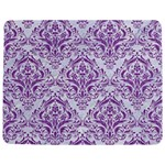DAMASK1 WHITE MARBLE & PURPLE DENIM (R) Jigsaw Puzzle Photo Stand (Rectangular) Front