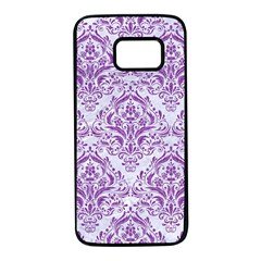 Damask1 White Marble & Purple Denim (r) Samsung Galaxy S7 Black Seamless Case