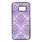 DAMASK1 WHITE MARBLE & PURPLE DENIM (R) Samsung Galaxy S7 Black Seamless Case Front