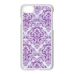 DAMASK1 WHITE MARBLE & PURPLE DENIM (R) Apple iPhone 7 Seamless Case (White)