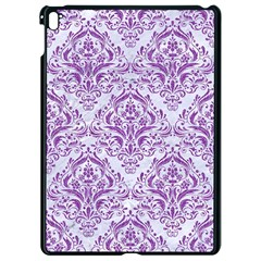 Damask1 White Marble & Purple Denim (r) Apple Ipad Pro 9 7   Black Seamless Case