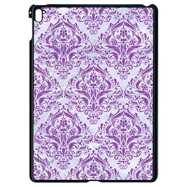 DAMASK1 WHITE MARBLE & PURPLE DENIM (R) Apple iPad Pro 9.7   Black Seamless Case