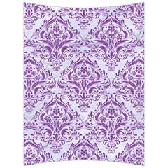 Damask1 White Marble & Purple Denim (r) Back Support Cushion