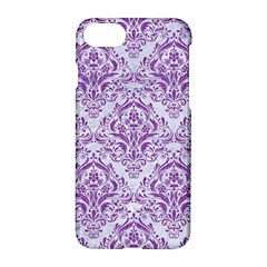 Damask1 White Marble & Purple Denim (r) Apple Iphone 8 Hardshell Case