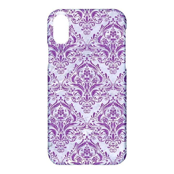 DAMASK1 WHITE MARBLE & PURPLE DENIM (R) Apple iPhone X Hardshell Case