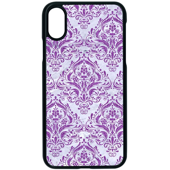 DAMASK1 WHITE MARBLE & PURPLE DENIM (R) Apple iPhone X Seamless Case (Black)