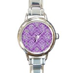 DAMASK1 WHITE MARBLE & PURPLE DENIM Round Italian Charm Watch Front