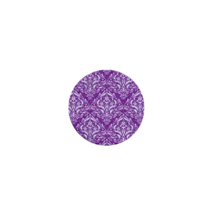 DAMASK1 WHITE MARBLE & PURPLE DENIM 1  Mini Magnets