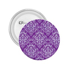 Damask1 White Marble & Purple Denim 2 25  Buttons