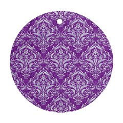 Damask1 White Marble & Purple Denim Ornament (round)