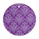 DAMASK1 WHITE MARBLE & PURPLE DENIM Ornament (Round) Front