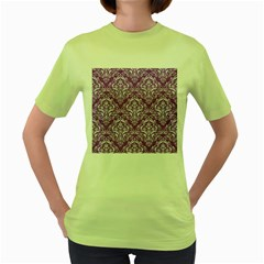 Damask1 White Marble & Purple Denim Women s Green T Shirt by trendistuff