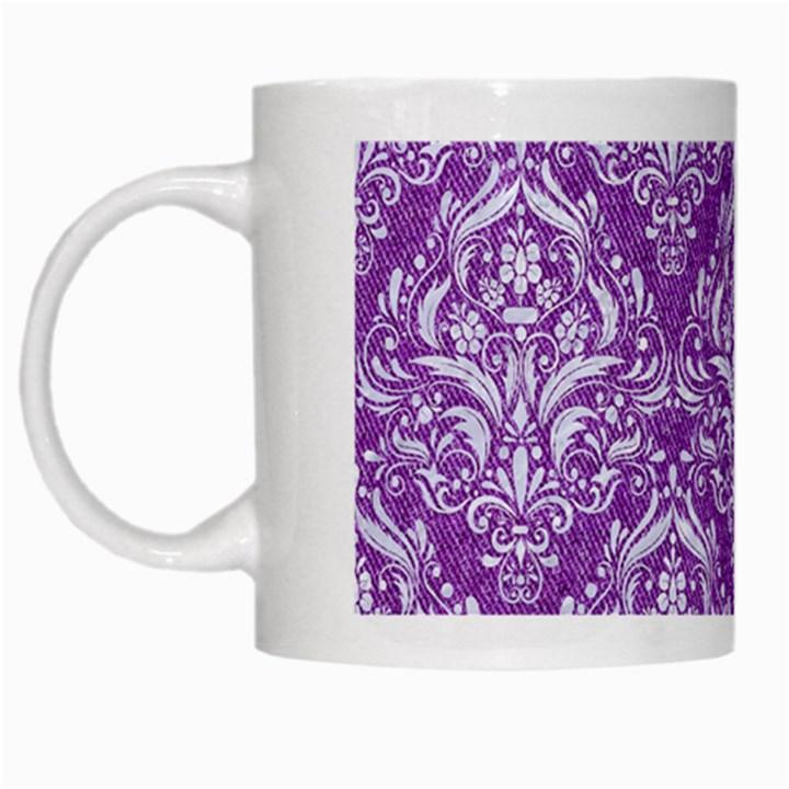 DAMASK1 WHITE MARBLE & PURPLE DENIM White Mugs