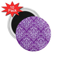 Damask1 White Marble & Purple Denim 2 25  Magnets (10 Pack)