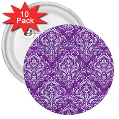 Damask1 White Marble & Purple Denim 3  Buttons (10 Pack)  by trendistuff