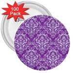 DAMASK1 WHITE MARBLE & PURPLE DENIM 3  Buttons (100 pack)  Front