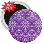 DAMASK1 WHITE MARBLE & PURPLE DENIM 3  Magnets (100 pack) Front