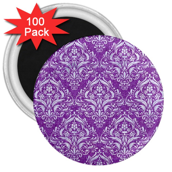 DAMASK1 WHITE MARBLE & PURPLE DENIM 3  Magnets (100 pack)