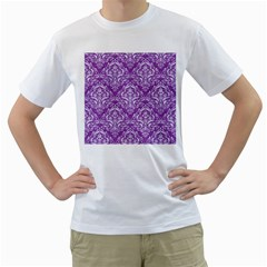 Damask1 White Marble & Purple Denim Men s T Shirt (white) (two Sided)