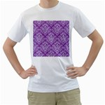 DAMASK1 WHITE MARBLE & PURPLE DENIM Men s T-Shirt (White) (Two Sided) Front