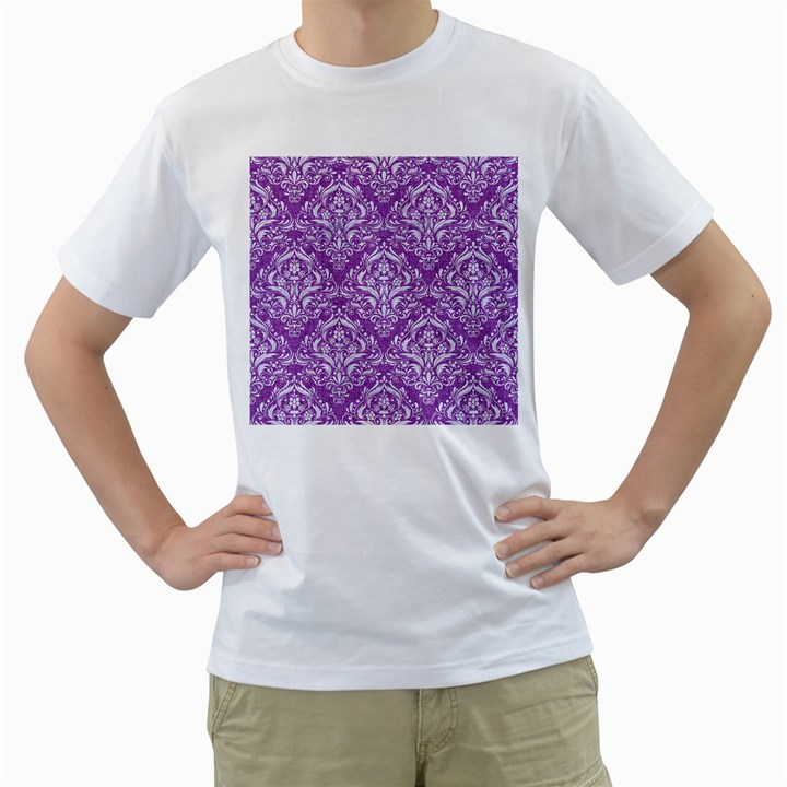 DAMASK1 WHITE MARBLE & PURPLE DENIM Men s T-Shirt (White) (Two Sided)