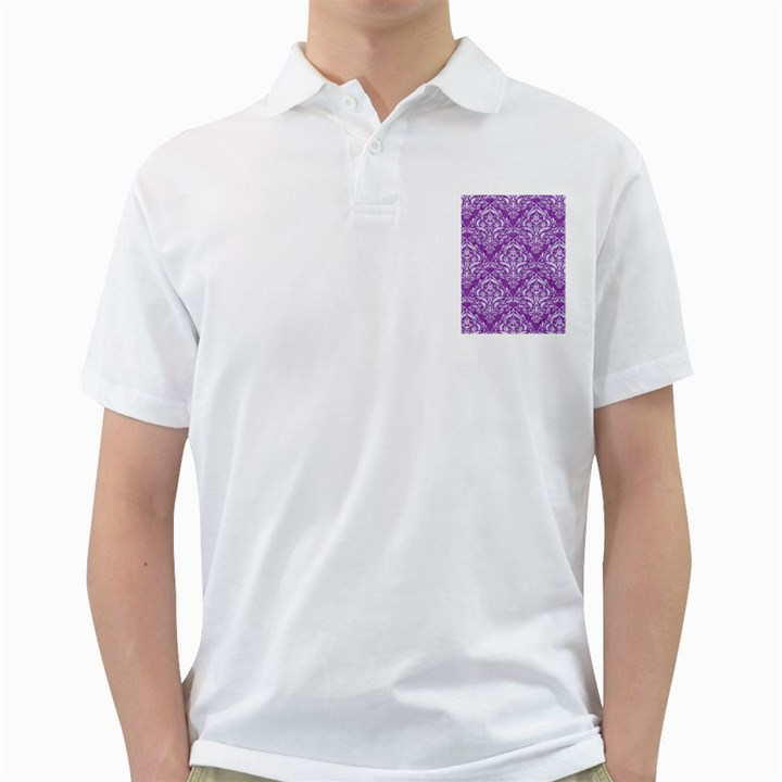 DAMASK1 WHITE MARBLE & PURPLE DENIM Golf Shirts