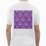 DAMASK1 WHITE MARBLE & PURPLE DENIM Golf Shirts Back