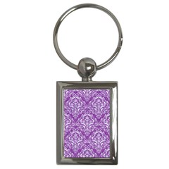 Damask1 White Marble & Purple Denim Key Chains (rectangle)