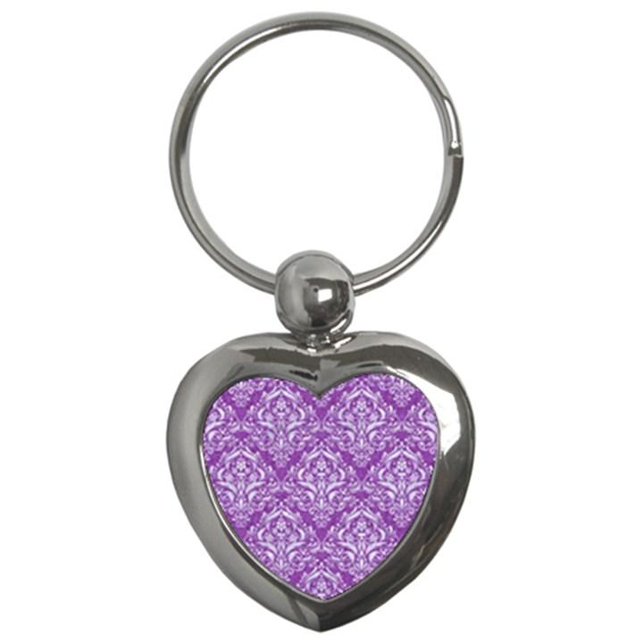 DAMASK1 WHITE MARBLE & PURPLE DENIM Key Chains (Heart)