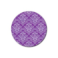 Damask1 White Marble & Purple Denim Rubber Round Coaster (4 Pack)