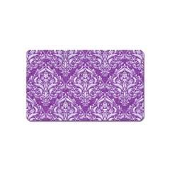 Damask1 White Marble & Purple Denim Magnet (name Card)
