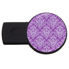 Damask1 White Marble & Purple Denim Usb Flash Drive Round (2 Gb)